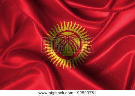 Wavy Flag Of Kyrgyzstan