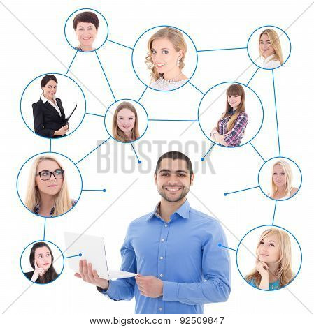 Online Dating Concept - Handsome Man With Laptop And His Social Network Isolated On White