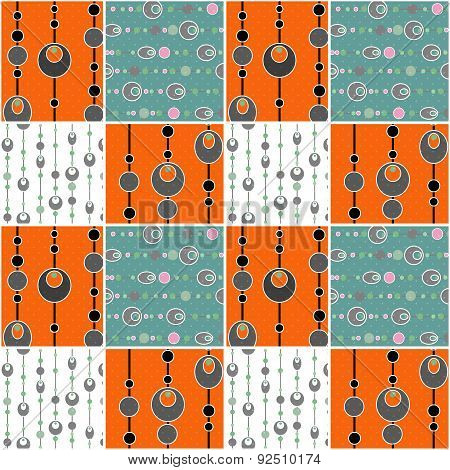 Patchwork Seamless Pattern Circles Background