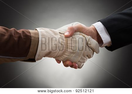 Worker Shaking Hand With Businessman