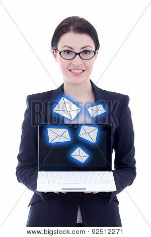 Internet Concept - Young Beautiful Businesswoman Showing Laptop With New Messages Isolated On White