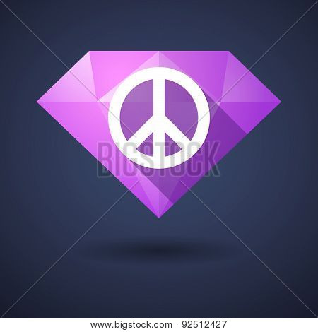 Diamond Icon With A Peace Sign