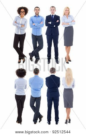 Back And Front View Of Young Business People Isolated On White
