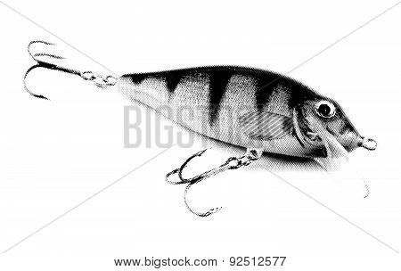 Engraved lures. Vector illustration, isolated, transparent background.