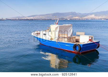 Old Wooden Pleasure Boat Anchored In Izmir