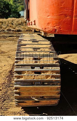 Detail of a large track hoe excavator