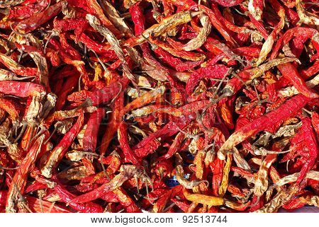 Red Dried Chillies Texture Background