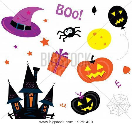 Halloween icons set isolated on white