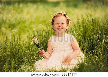 funny girl outdoors, child smiling
