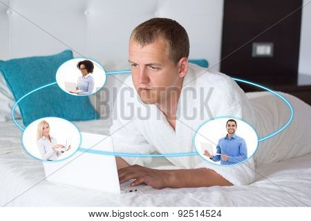 Business Trip Concept - Young Business Man With Laptop In Hotel Room