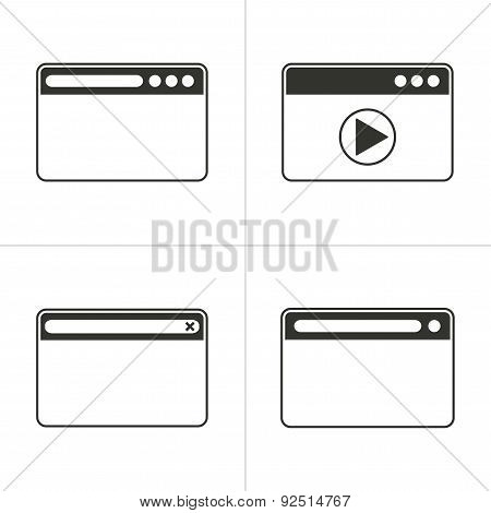 Set Of Simple Browser Icon
