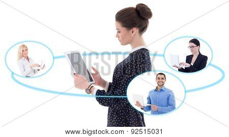 International Business Concept - Business Woman Holding Tablet Pc And Talking With Her Business Part