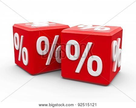 Red Cubes With Percent