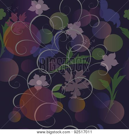 Vector abstract floral repeating pattern translucent.
