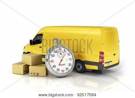 Cardboard Package Box With Stopwatch And Delivery Vehicle On The White Background. Fast Delivery Con