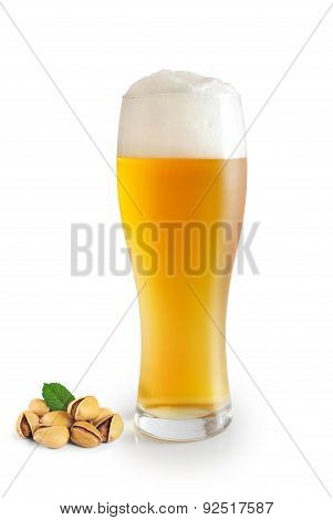 Glass Of Beer And Pistachios