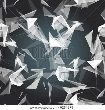 Textile seamless pattern of white triangles on dark backdrop