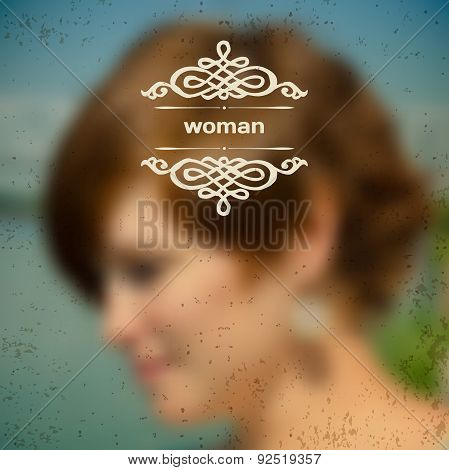Blurred photographic vector background with a beautiful woman in