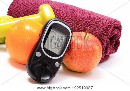 Glucometer, Fresh Fruits And Dumbbells With Purple Towel
