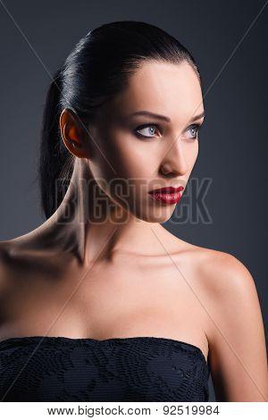 Studio Fashion Shot: Portrait Of Beautiful Young Woman