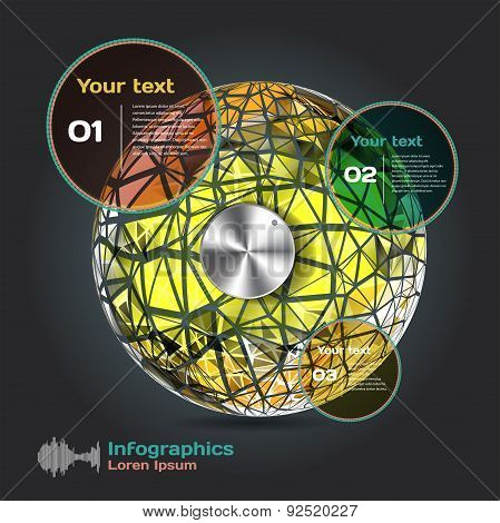 set infographics with dots and lines on a dark background on the