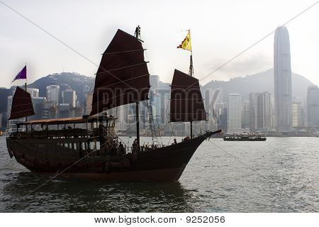 Traditional Chinese Boat On Victoria Harbour, Hong Kong.