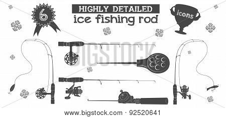 Ice Fishing Rod Icons