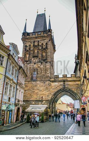 View On Powder Tower In Prague, Czech Republic