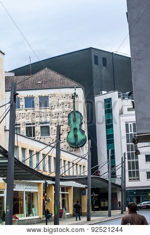 Street View On House Wall With Violing In Dortmund, Germany