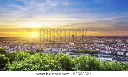 View Of Lyon City At Sunrise