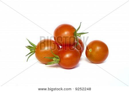 Cheery Tomatoes Isolated On White