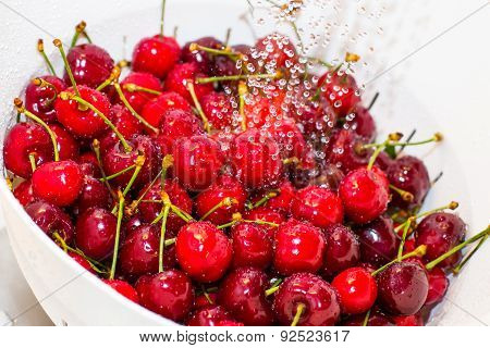 Freezed Drops  Over The Ripe Cherry Rinsed With Water