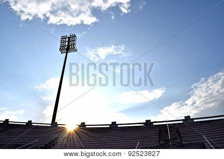 Evening sky and sunlight Backlit Stadium sport