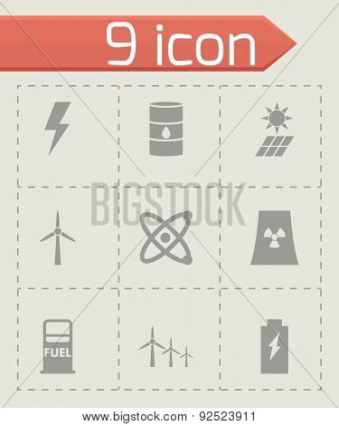 Vector grey energetics icon set