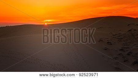 Sunset In White Sand Dunes, Mui Ne, Vietnam