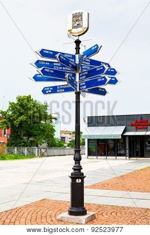 Long Distance Signpost In Plovdiv, Bulgaria