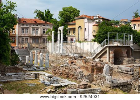 Antique Forum With Odeon In Plovdiv, Bulgaria