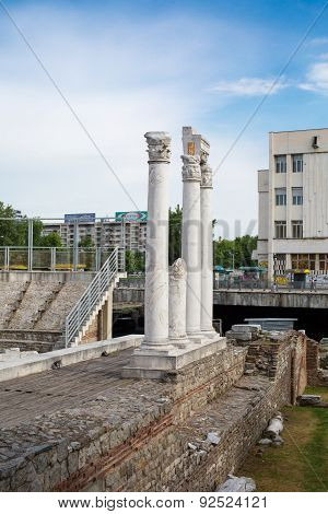 Column At Antique Forum With Odeon In Plovdiv, Bulgaria