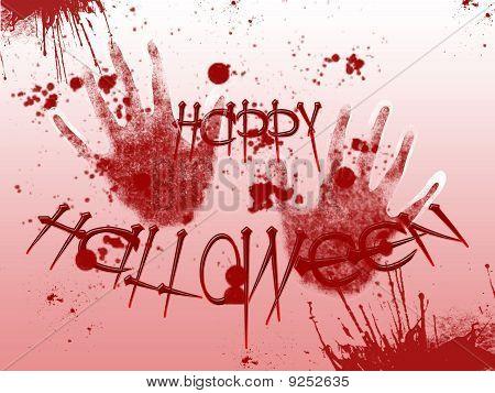 Picture On Halloween. Bloody Handprints