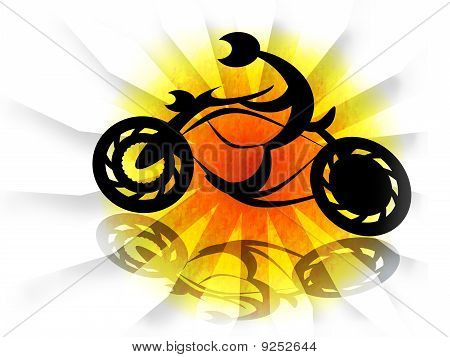 Biker on motorcycle in solar explosion