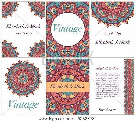 Set of cards or invitation. Vintage decorative elements. Hand drawn background. Islam, Arabic, India