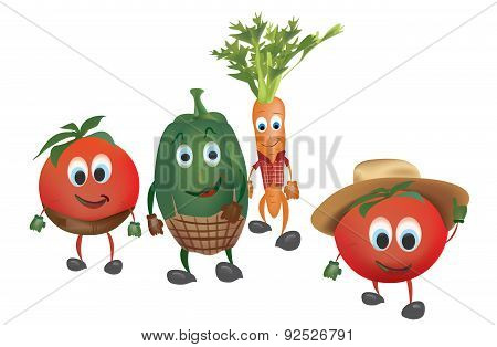 Cartoon Vegetables with Clothes