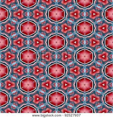 Seamless Kaleidoscopic Pattern In Red And Blue 4
