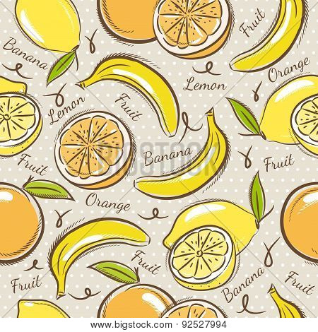 Background With  Bananas, Oranges And Lemons.