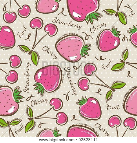 Pattern With  Strawberry And Cherry.