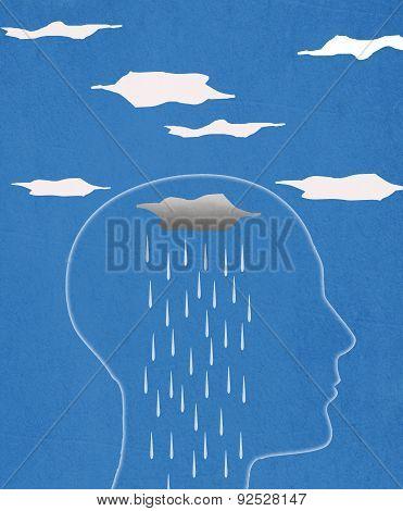 Head Silhouette  And Rain  Digital Illustration