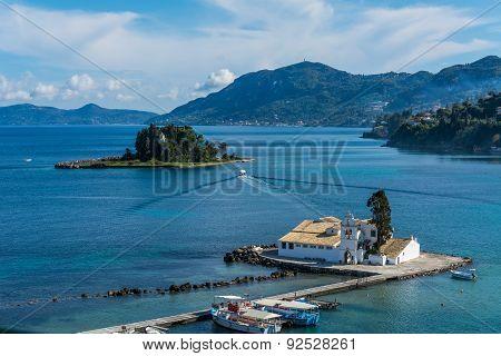 View Of Pontikonisi,a Small Island In Corfu,greece