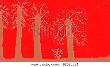 Naive Painting.strange Trees On A Red Planet.
