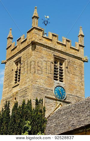 St Peter's Church Tower Blue Clock Face - Stanway Cotswolds