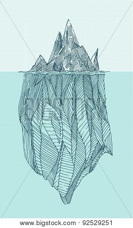 Iceberg Vintage Engraved Illustration Hand Drawn
